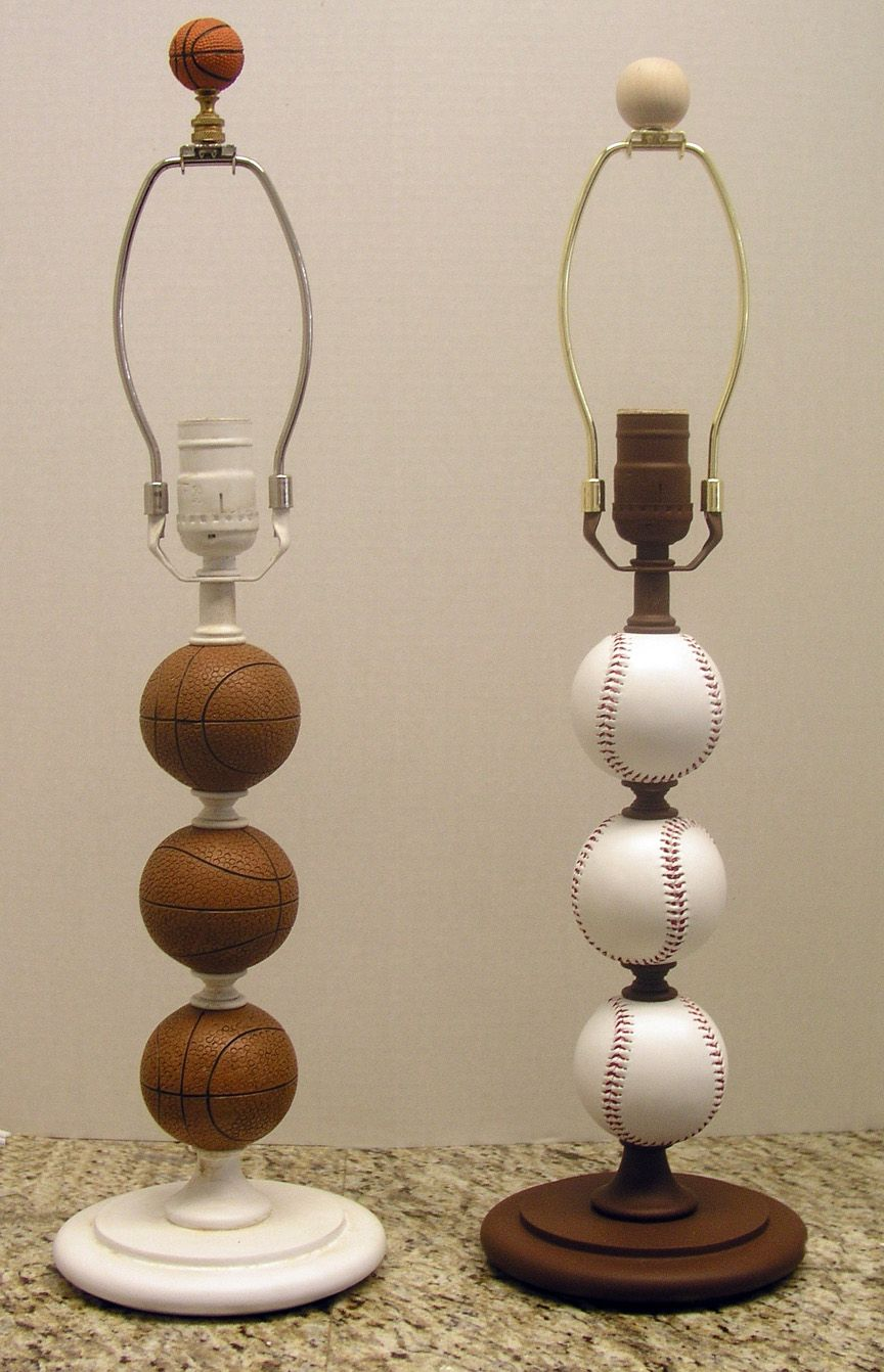 "When I saw this I wasn't thinking that finding a ""baseball lamp"" would be easy.  I was more or less thinking that I've seen lamp stands that have the round figures as this one.  So if you find some, paint the balls to look like baseballs or whichever sport you so choose.  Very cool lamp."