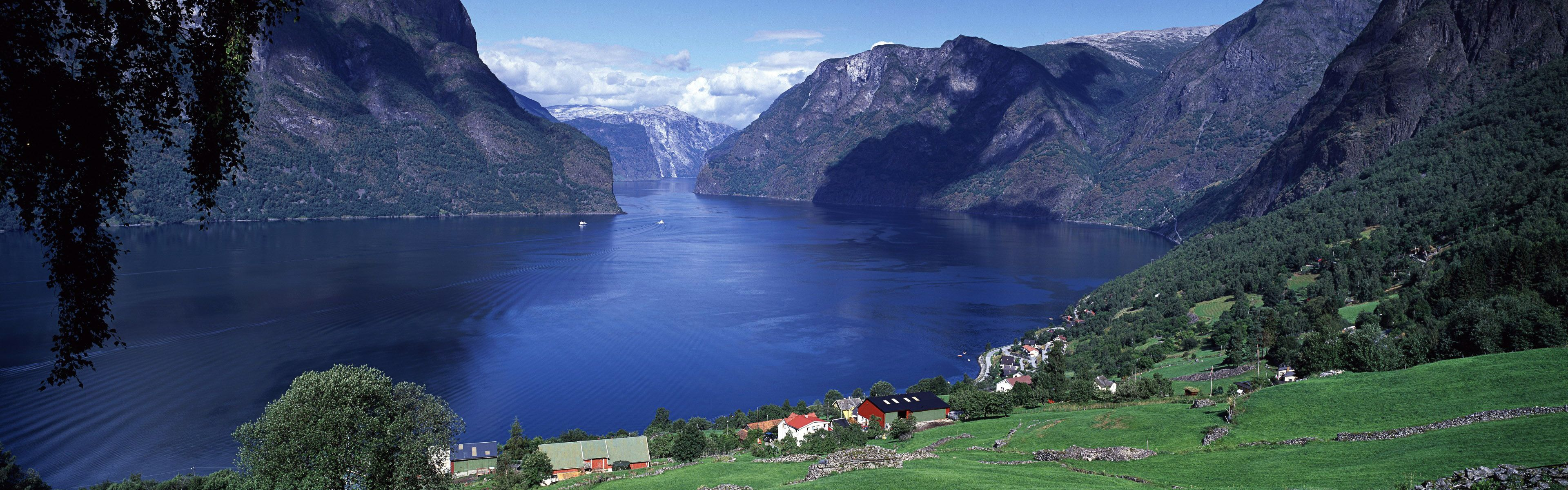 Aurlandsfjord, Sogn og Fjordane county, Norway. Panorama