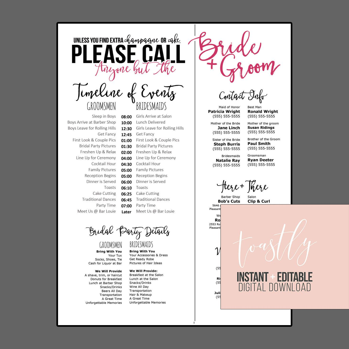 Editable Wedding Timeline Call Anyone but the Bride and