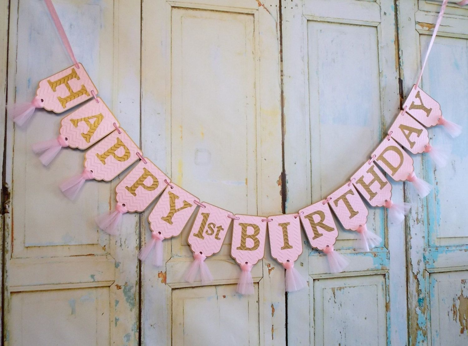 Happy 1st Birthday Banner Chevron Embossed Pink and Gold Banner