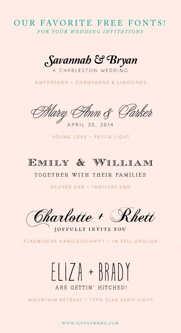 our favorite free font combinations for wedding invitations! by ...
