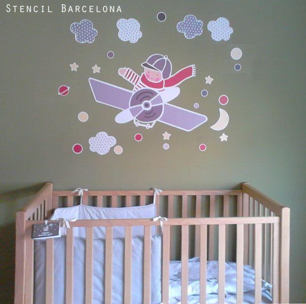 Habitaci n infantil con vinilo de stencilbarcelona for Vinilo habitacion infantil