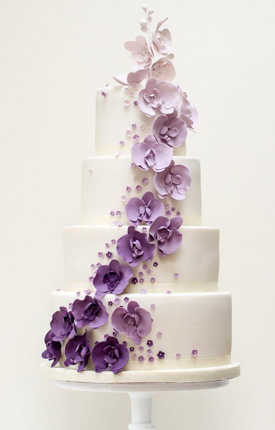 Wedding Cakes 25 05252016 Km Modwedding Lavender Wedding Cake Purple Orchid Wedding Purple Wedding Cakes