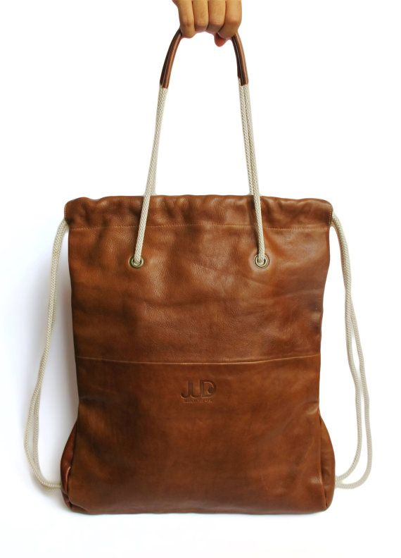02edd9a35d44f Leather Backpack/ Tote Brown Color JUD Hand Made by JUDtlv on Etsy, $250.00  Diy