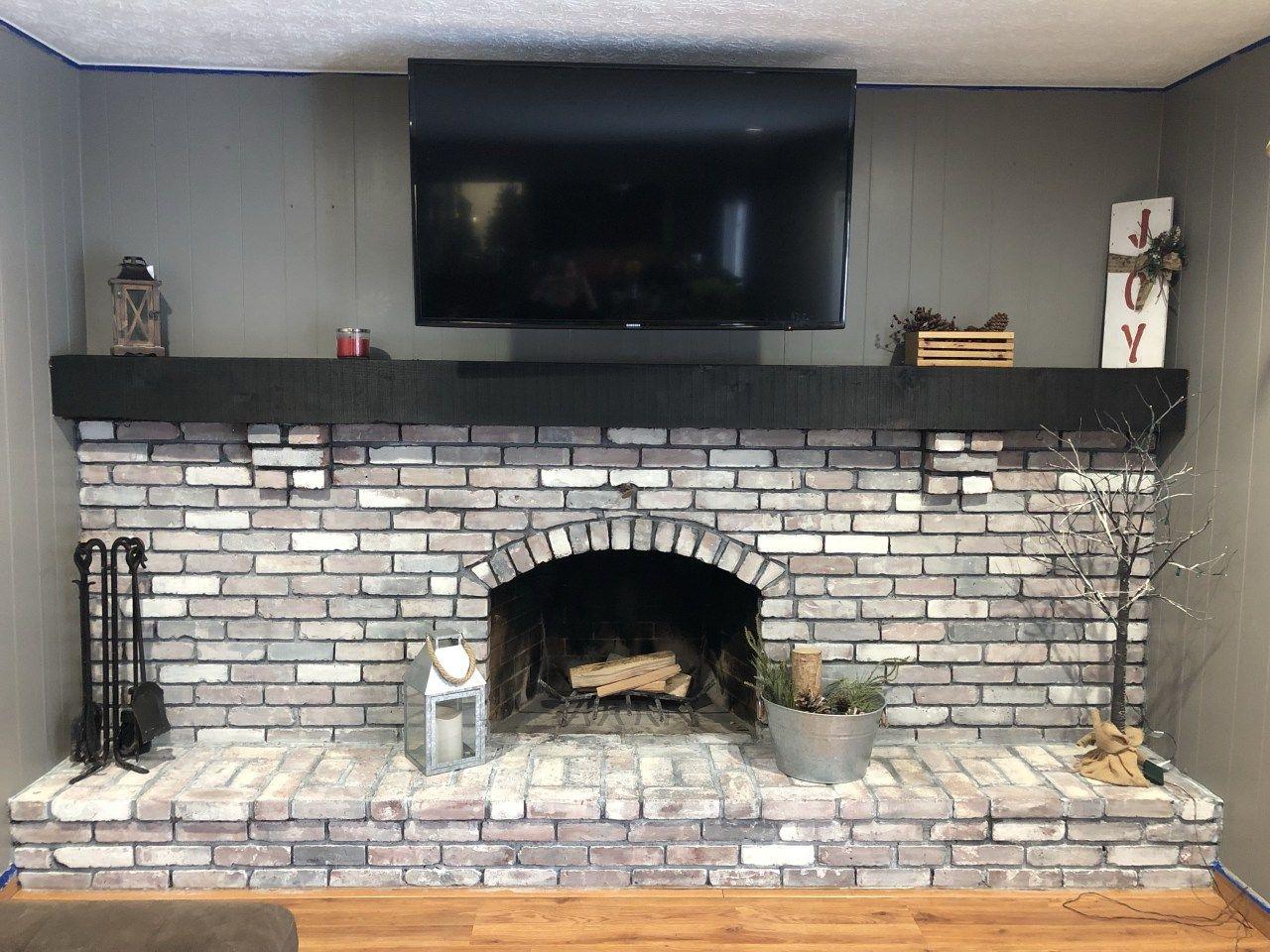 Diy Whitewash Brick Fireplace With Images White Wash Brick