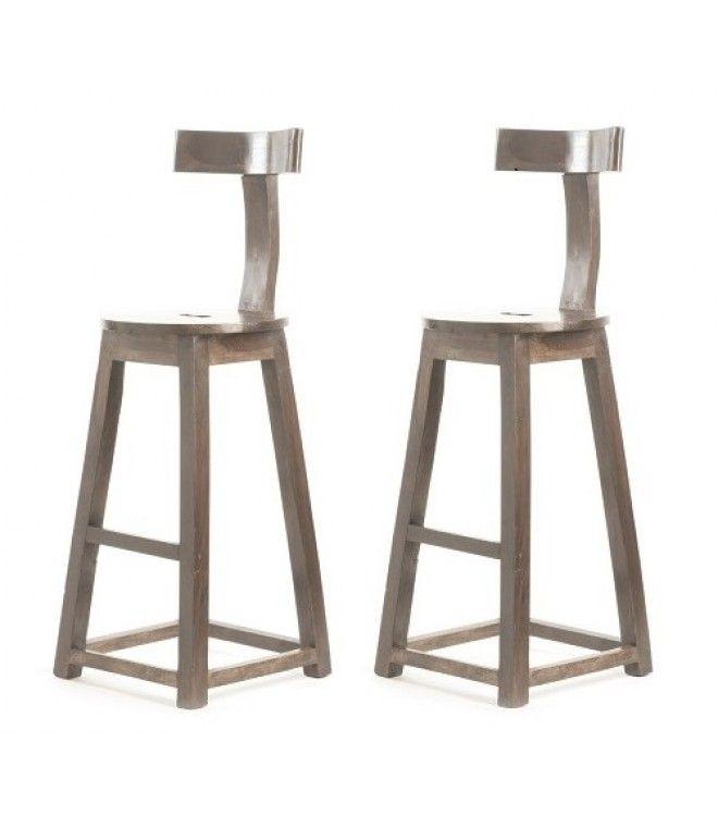 Rustic Industrial Wood T-Back Bar Stool -Set of 2