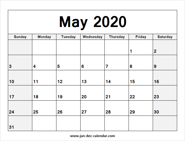 Blank Calendar For May 2020 Blank Calendar May 2020 | January December Calendar | June 2019