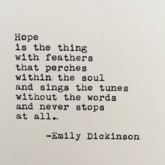 Emily Dickinson Hope Quote Typed On Typewriter 4x6 White Cardstock