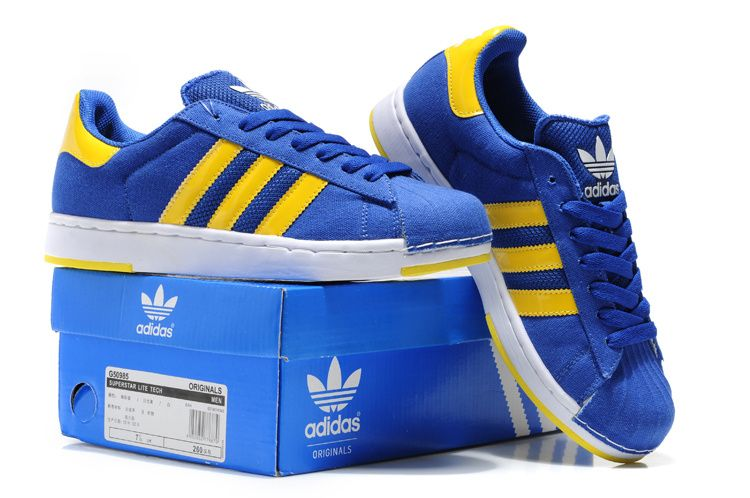 Adidas Superstar II Blue Yellow_6.jpg (750�498) � Adidas SneakersAdidas  SuperstarBlue YellowShoes MenFree ...
