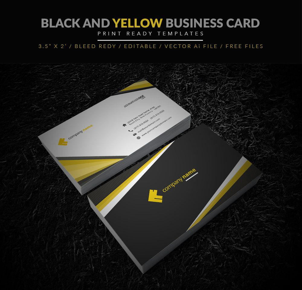 Yellow And Black Business Card Illustrator Template Business Card - Business card illustrator template free