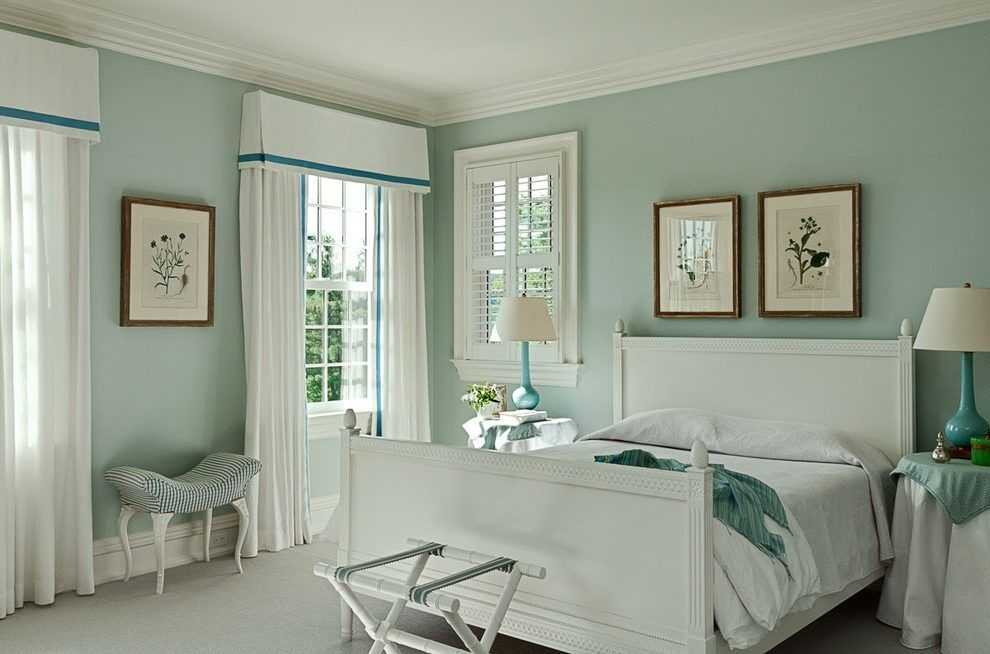 Palladian Blue Bedroom Bedroom Transitional With Wall Sconce Palladian Blue Guest Bedroom Colors Guest Bedroom Paint Ideas #palladian #blue #living #room