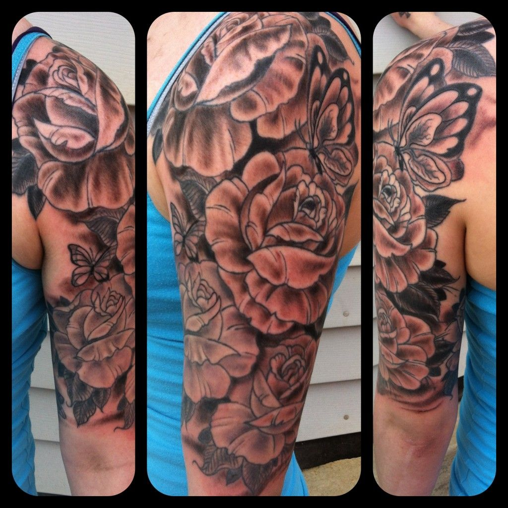 Clock forearm black rose sleeve tattoo - Rose Half Sleeve Tattoo Designs Rose Sleeve Tattoos 2013 06 10