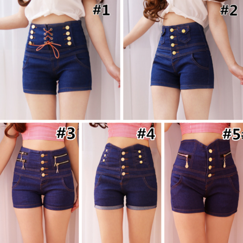 S-XL Blue Elegant Double-Breasted High Waisted Jean Shorts ...