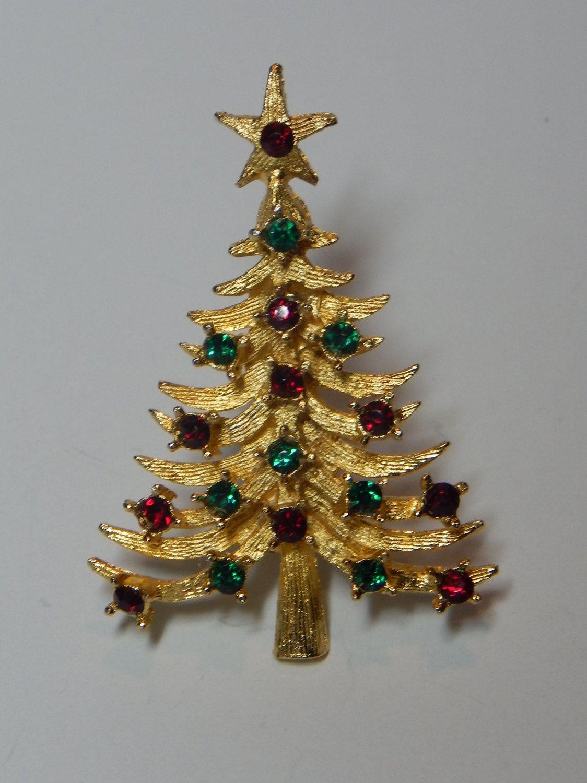 Christmas tree brooch holiday pin Christmas pins Vintage rhinestone Christmas tree pin Christmas pin green and gold Christmas tree pin