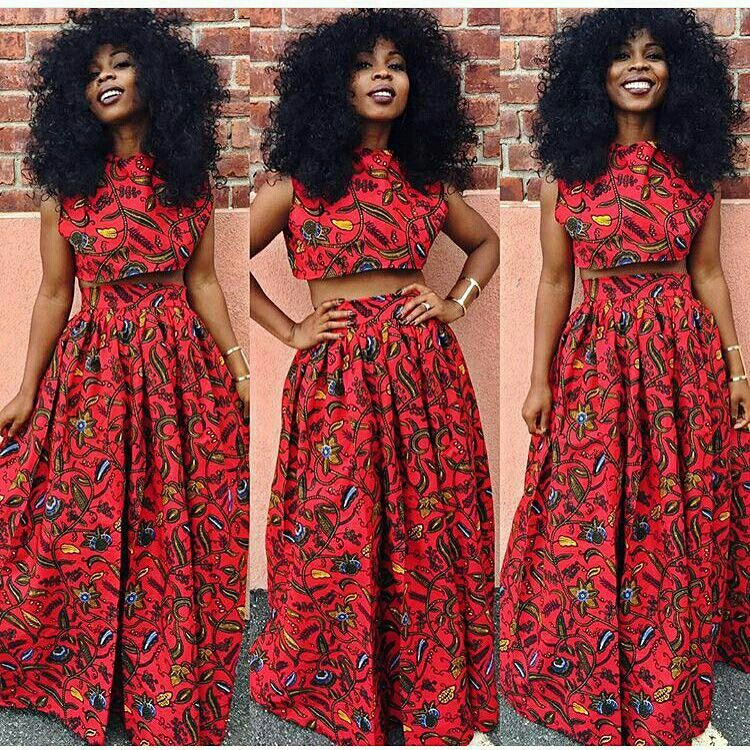 African print crop top and full skirt