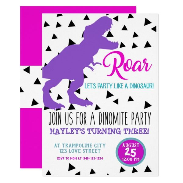 girls dinosaur birthday kids invitations in 2018 3rd birthday