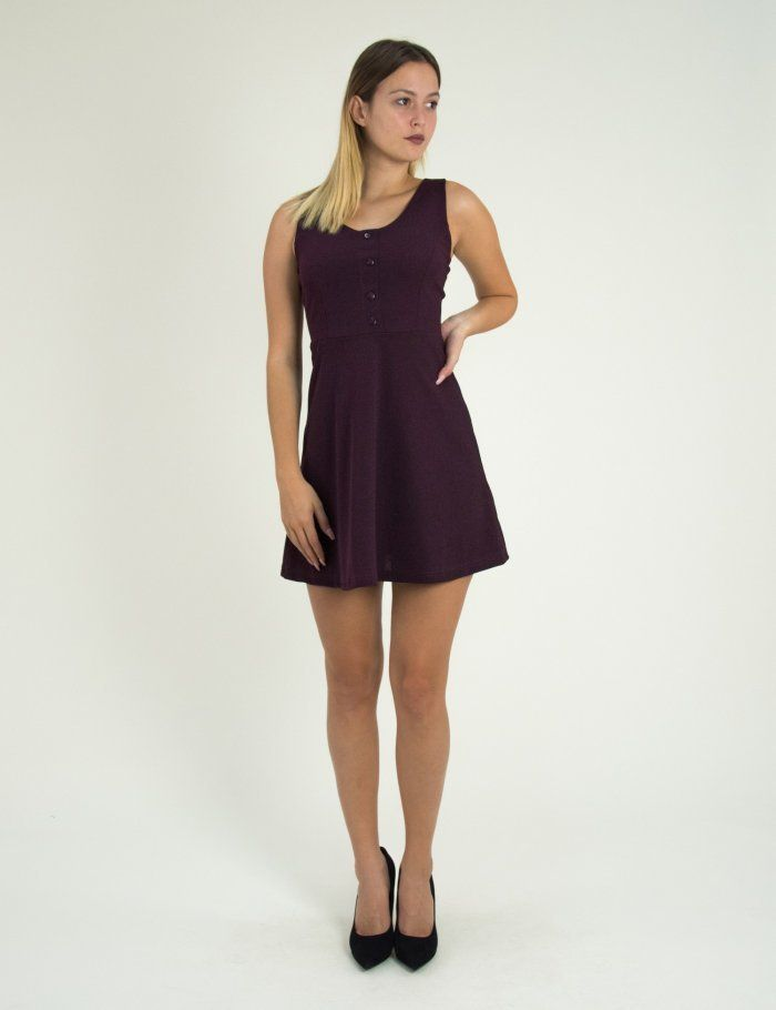 bbe124e82e73 Γυναικείο βυσσινί κλος φόρεμα με κουμπιά Benissimo 91727F  τορούχο  torouxo   foremata  φορέματα