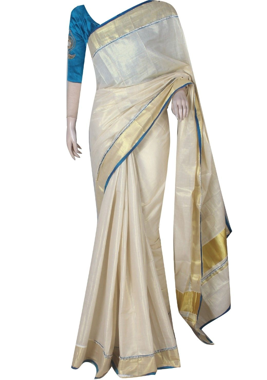 a3f722592cb0ce Sky blue and cream combination kerala traditional kasavu saree with  handcrafted raw silk blouse