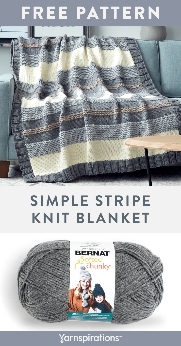 Free Knitting Pattern made with Bernat Softee Chunky yarn! This free Simple Stri...