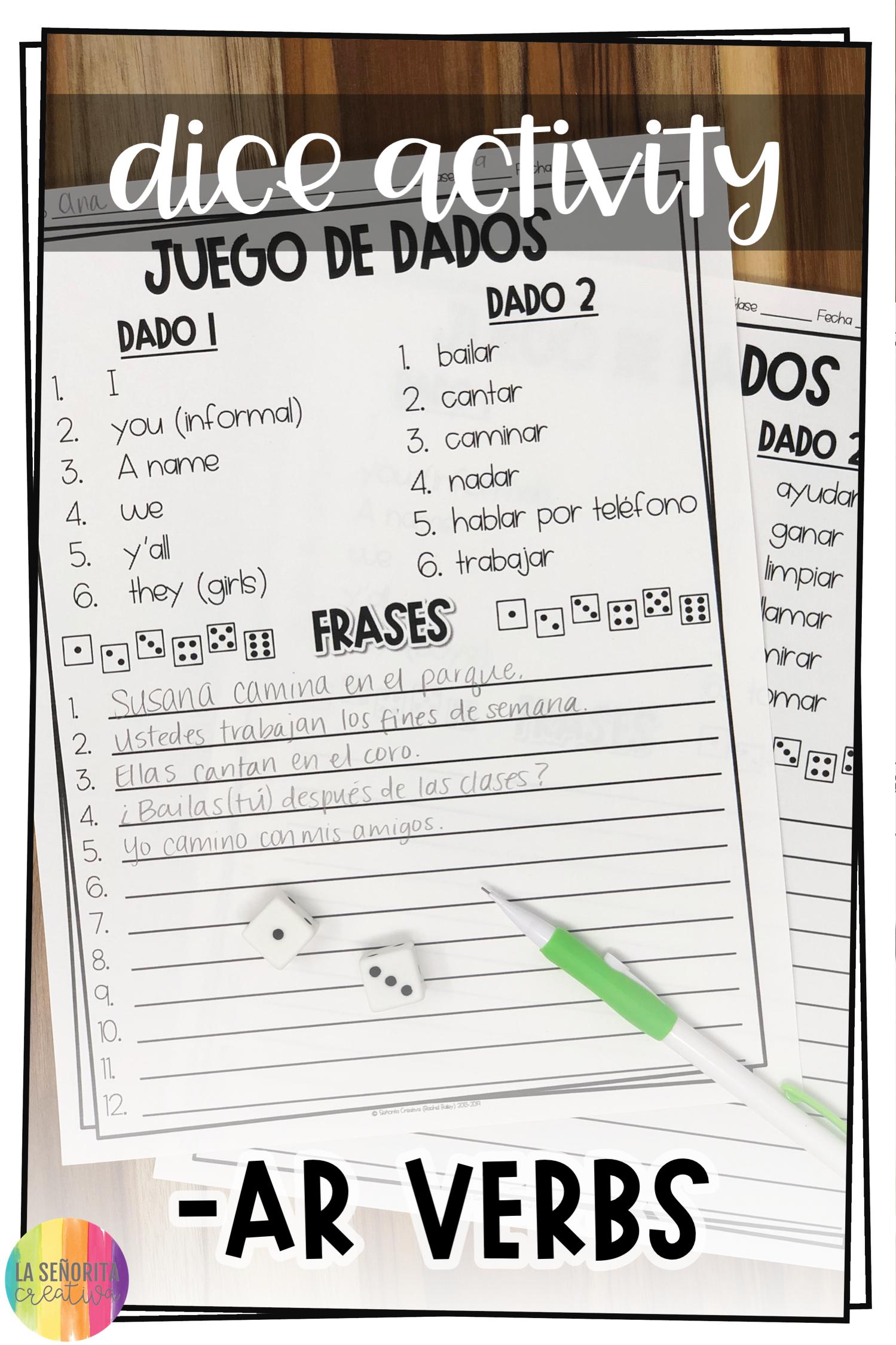 Spanish Ar Verbs Conjugation Dice Activity