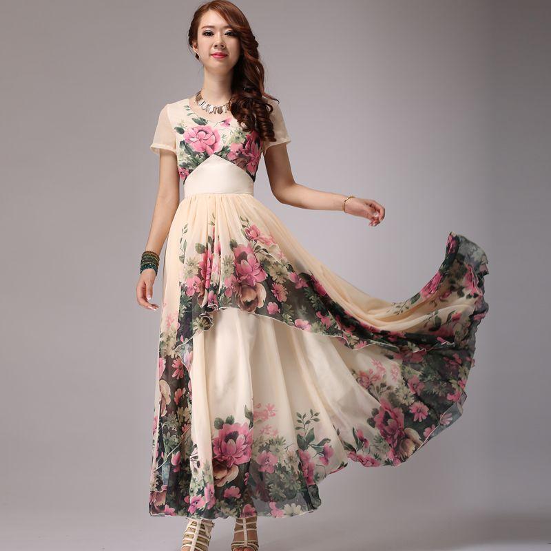 Floral chiffon dresses plus size