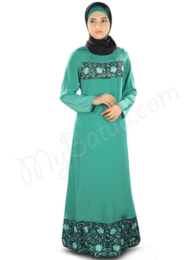 Beautiful Embroidered Bottle Green Party Wear Abaya| MyBatua.com ...