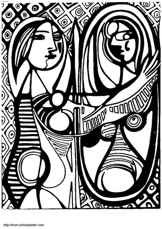 Coloring Page Picasso Girl In Front Of Mirror Famous Art