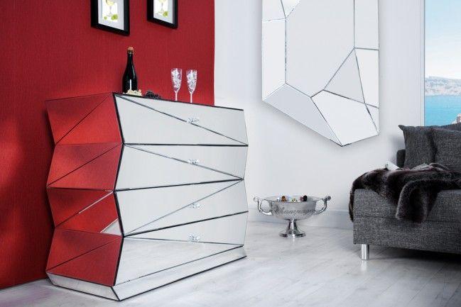 Verspiegelte Design Kommode Vision 100 Cm Sideboard Spiegelglas