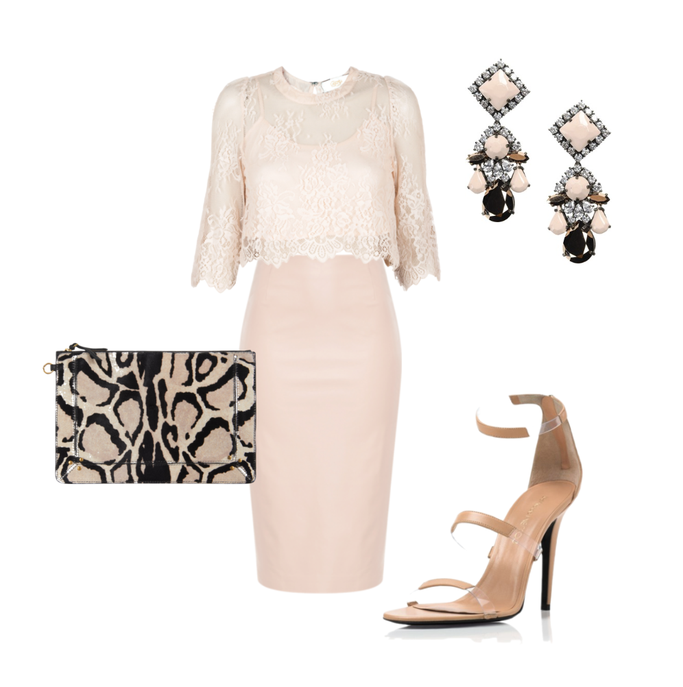 I Thee Wed | Faceted  Guest of wedding dress Blush pink, animal print, chandelier earrings, crop top, lace, leather pencil skirt, fashion