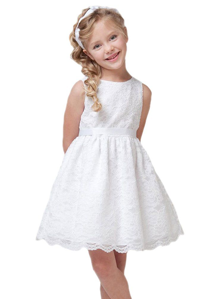 bd286e070ac1 Horcute Little Girls Party Sleeveless Lace Overlay Flowers Girls ...