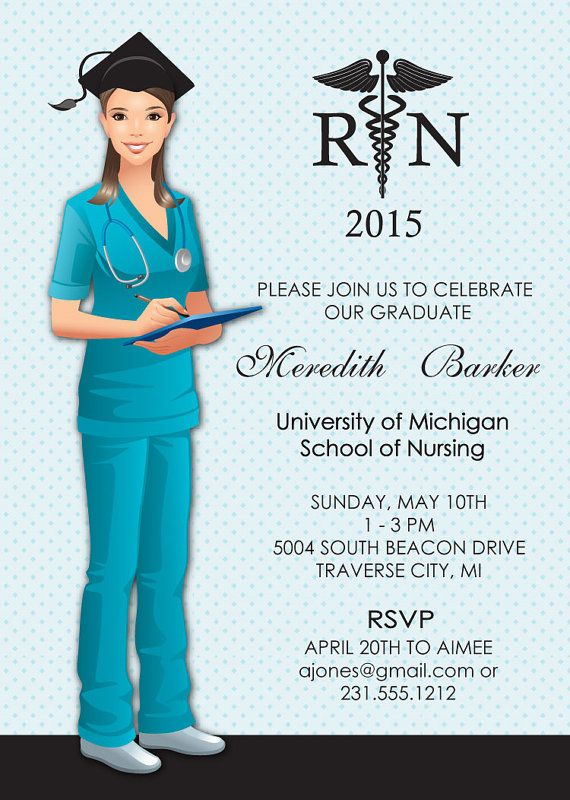 Nurse Graduation Invitations Announcement RN