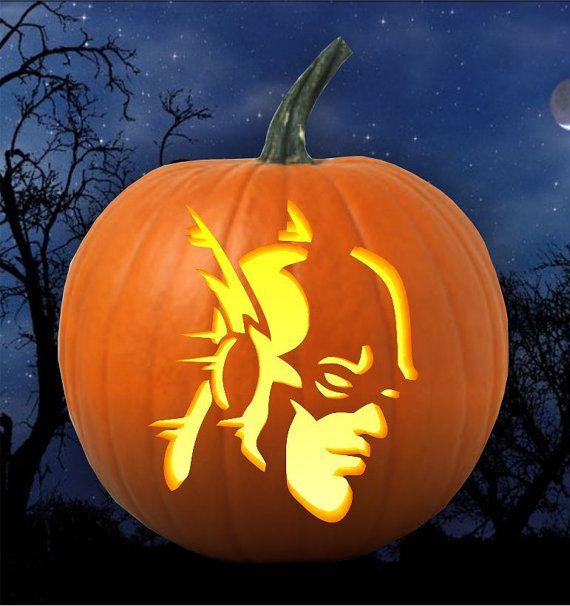 Super hero flash pumpkin carving pattern stencil pdf by grafiteez