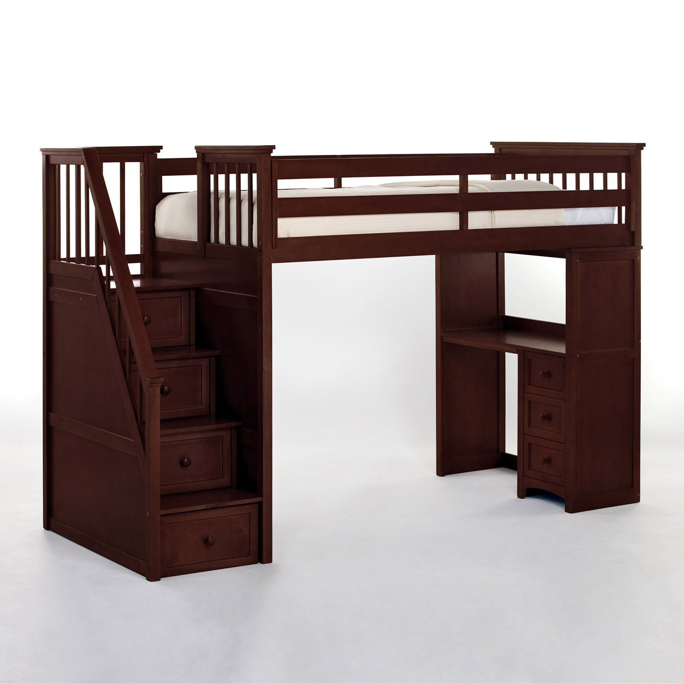 Loft bed with stairs and desk  NE Kids School House Stair Loft Bunk Bed  K I D S D E C O R