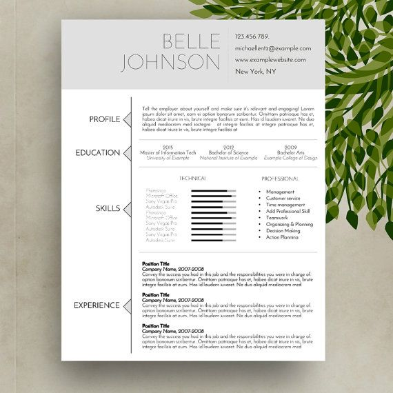 Resume/CV Template Cover Letter MS Word for Mac by ResumeNature