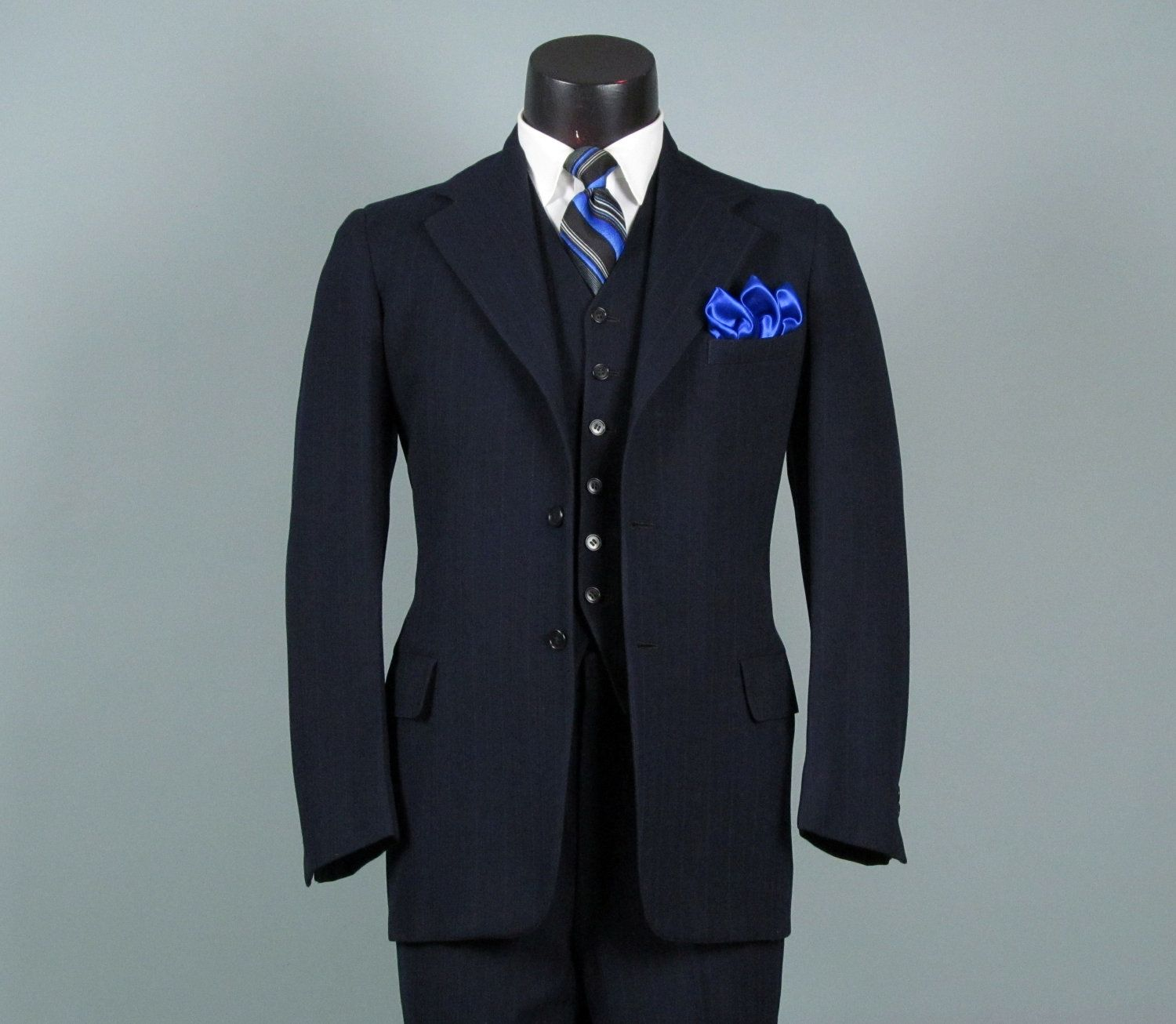 Vintage Mens Suit 1940s Navy Wool Pinstripe 3 Three Piece Mens ...