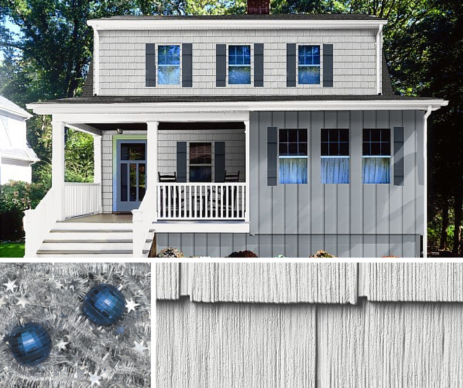 Silver Tinsel With Blue Bulbs Are Brought Together In A Aspen White Portsmouth Staggered Edge Shingles And Driftwood Siding Options Insulated Siding Shingling