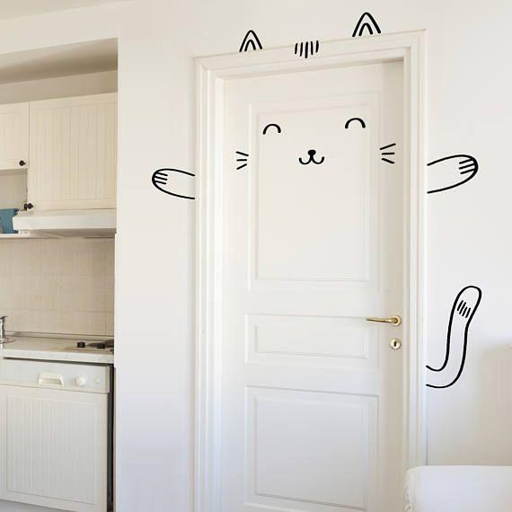 windows or closets  Nursery decor  Cat Vinyl Sticker Sisi the Custom Cat Door decal  Wall decal for doors