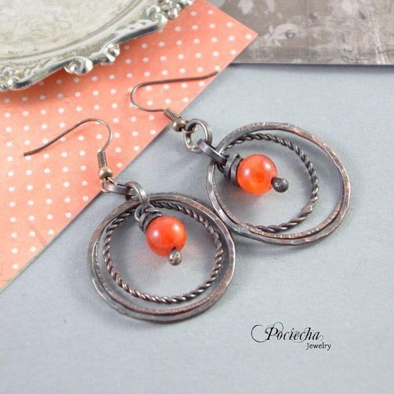 Bohemian orange earrings with jadebeautiful by POCIECHAjewelry