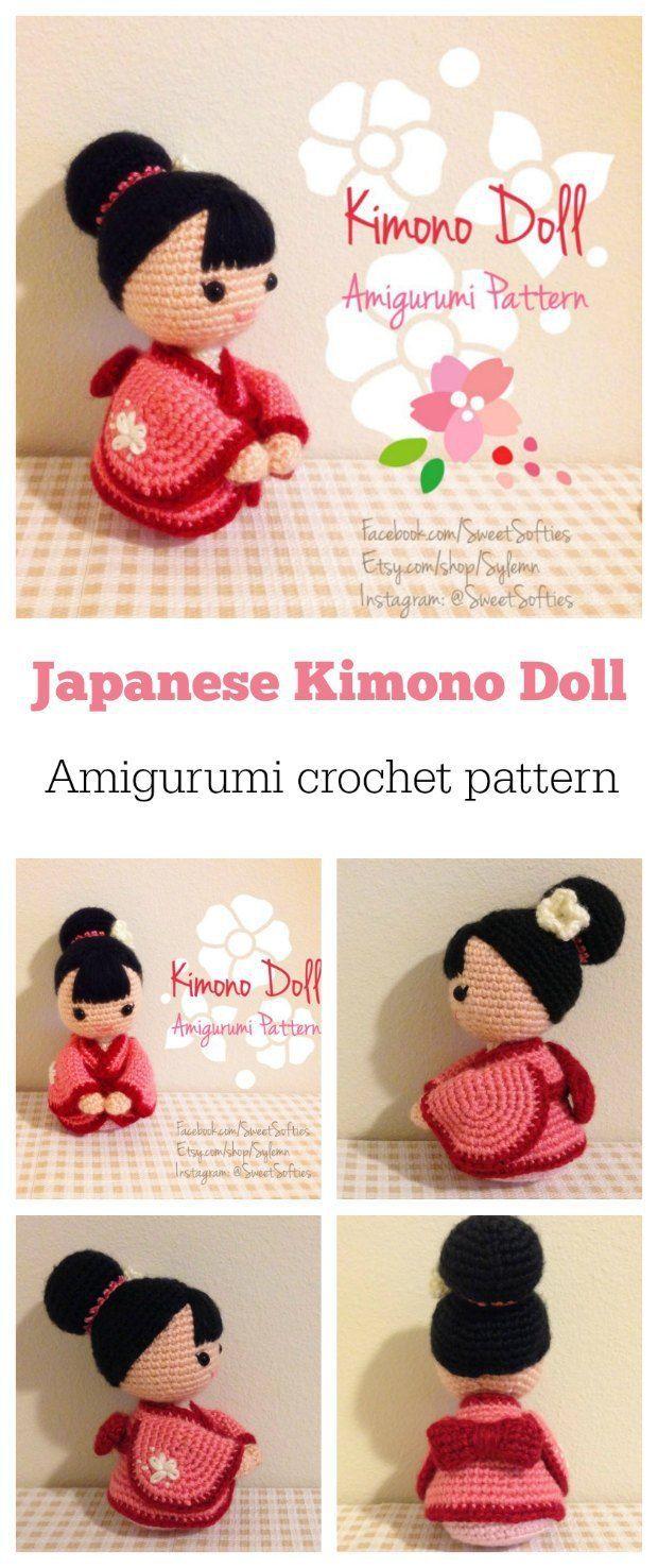 Super-cute Kimono Doll amigurumi crochet pattern. | KOKESHI ...
