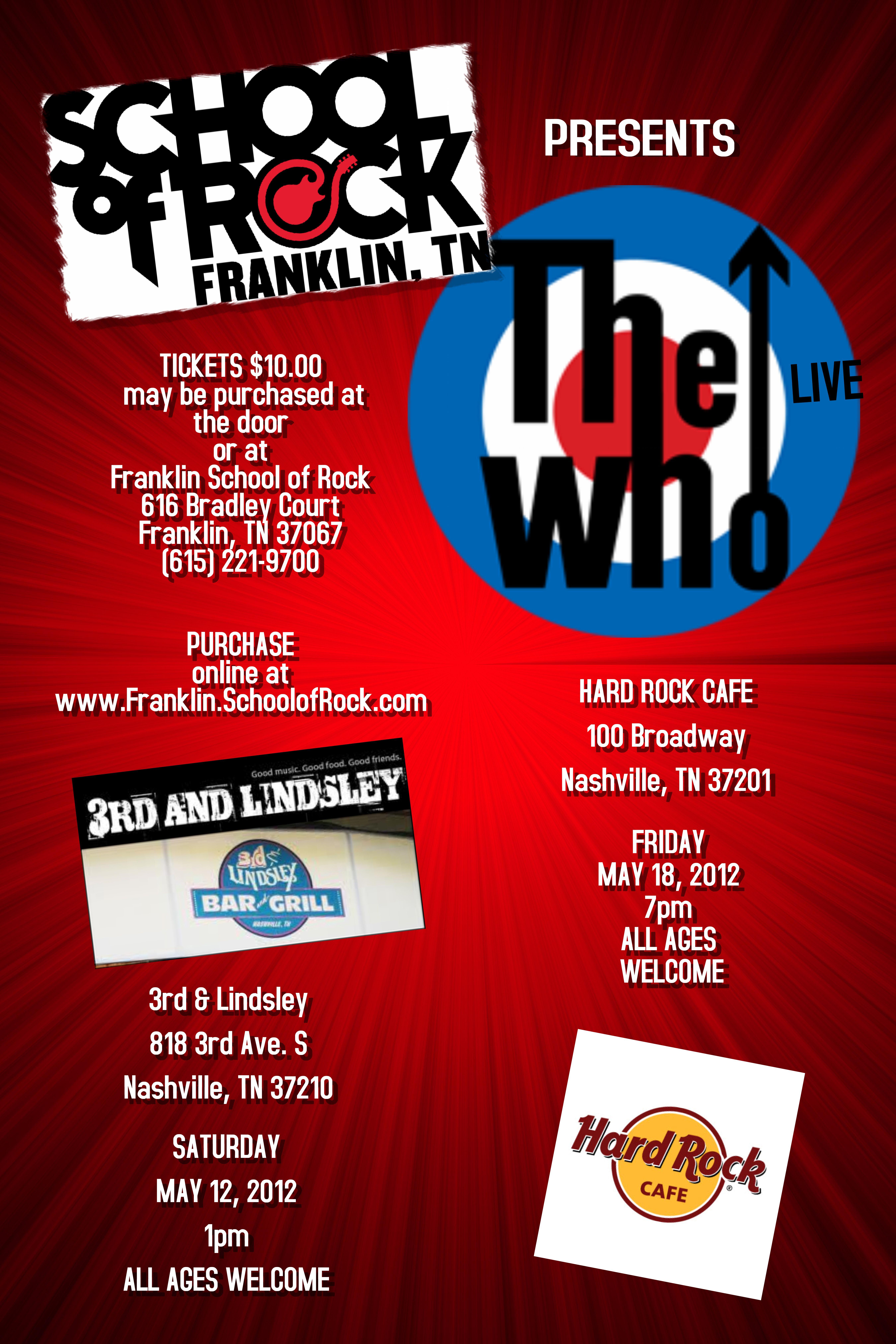 The Who Franklin School Fo Rock 2nd Season May 2012 School Of Rock Hard Rock Cafe School