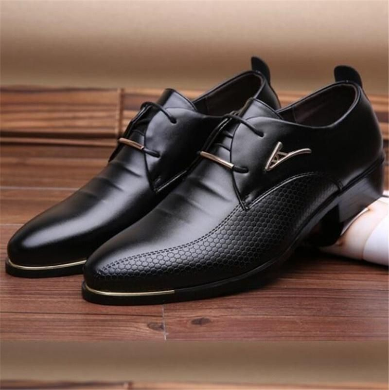 UK Men Office Formal Work Oxfords Leather  Pointed Toe Business Dress