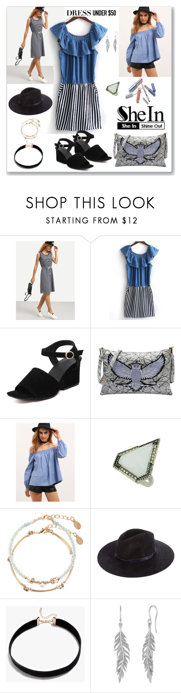 """Shein Dress"" by ludmyla-stoyan ❤ liked on Polyvore featuring Accessorize, rag & bone, dress, hat, ruffle, choker and shein"