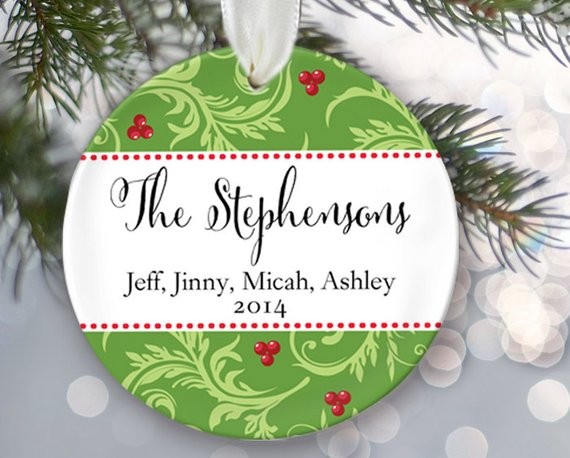 Personalized Christmas Ornament Christmas Gift Last Name  Date
