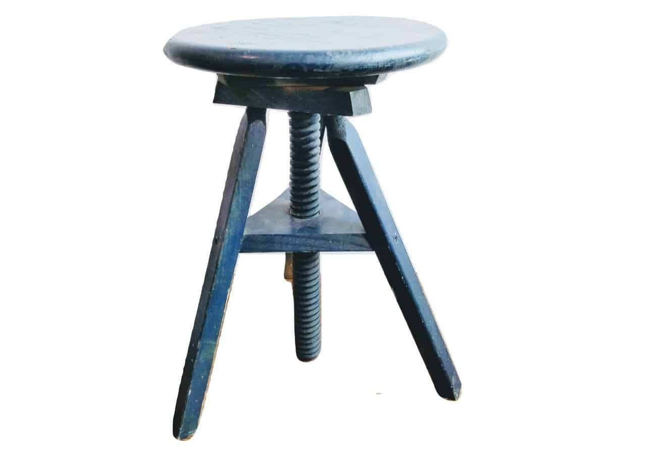 Vintage French Blue Adjustable Wooden Wood Stool Work Small Chair