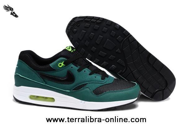 2014 Mens Nike Air Max 1 87 Running Shoes Green Black