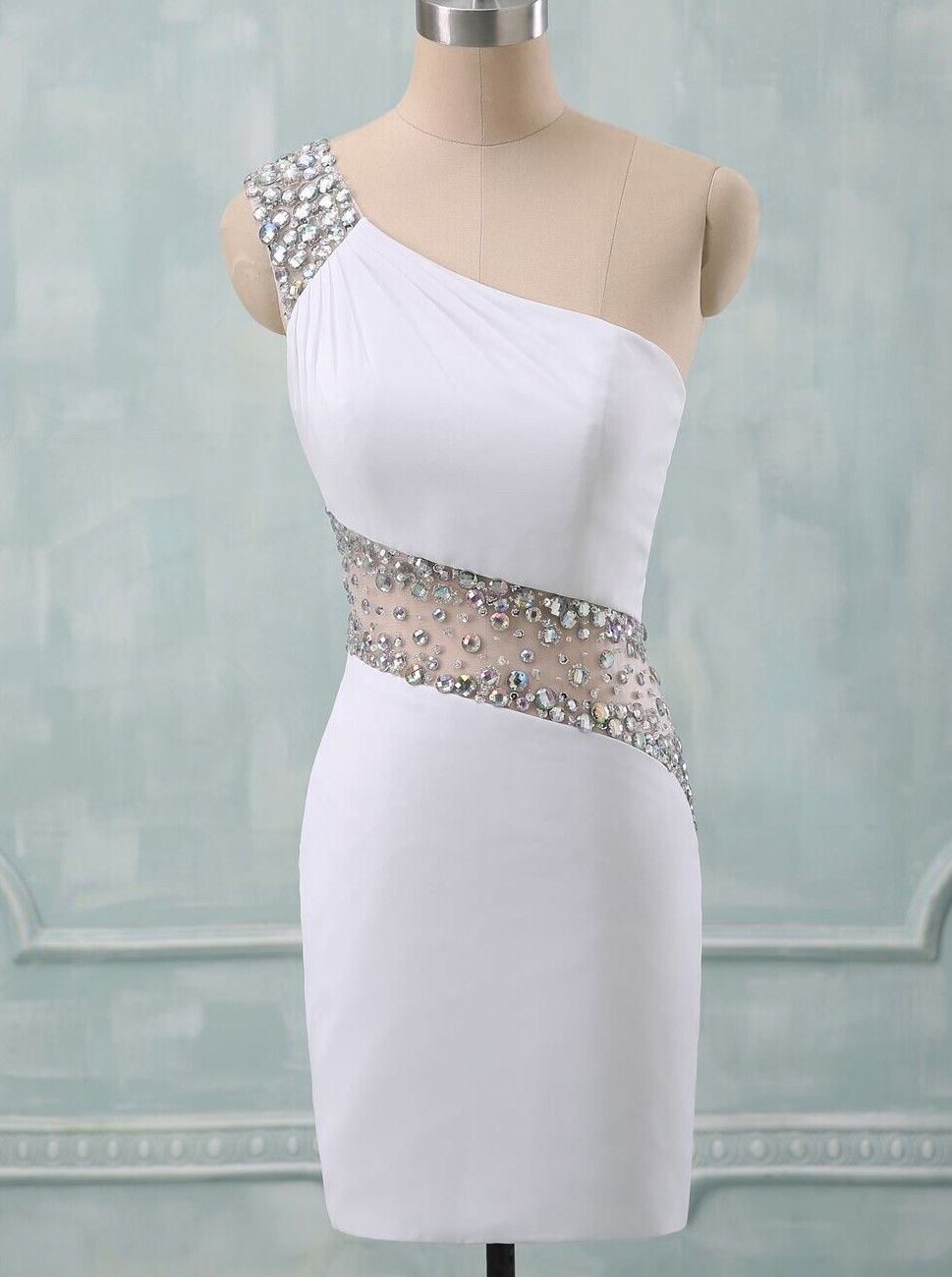 Sheathcolumn oneshoulder short spandex beaded white backless party