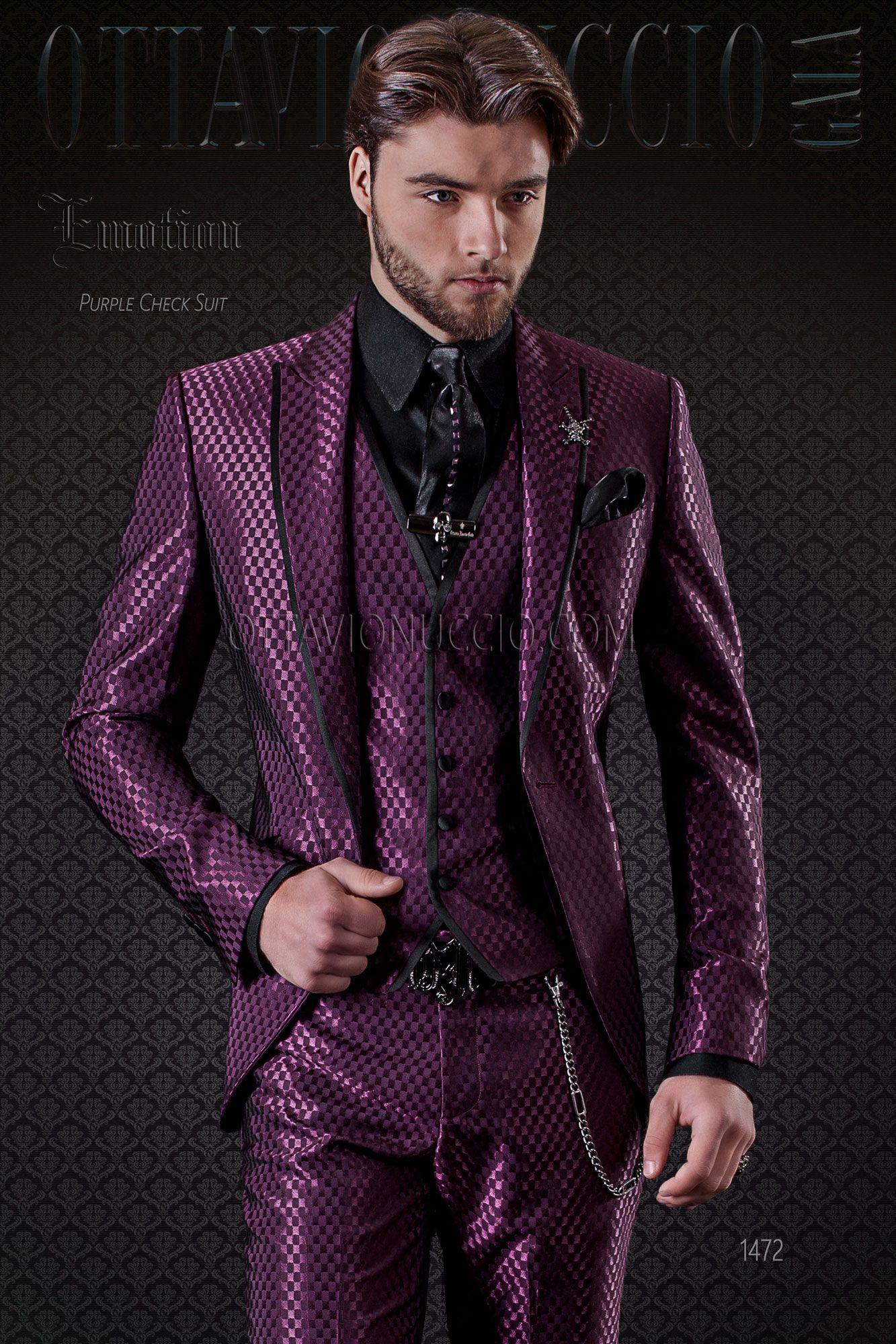 Checkered Purple Peak Lapel Groom Suit Purple Prom Suit Wedding
