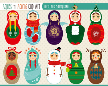 Christmas Matroyshka Russian Dolls Clip Art Color And Outlines Russian Doll Dolls Nesting Dolls