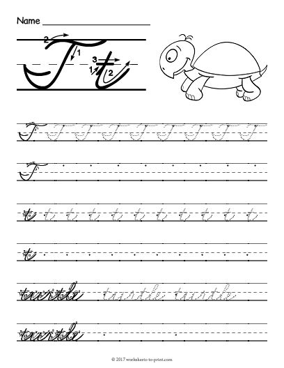 free printable cursive t worksheet cursive writing worksheets pinterest cursive. Black Bedroom Furniture Sets. Home Design Ideas