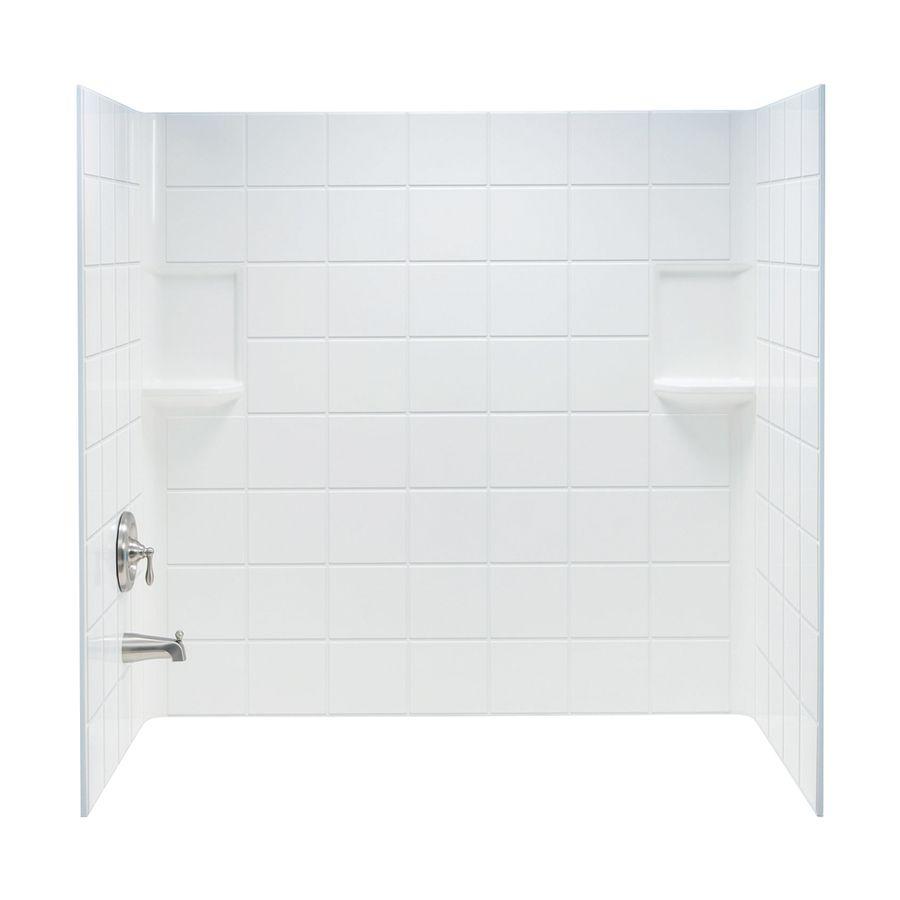 Mustee Topaz White Fiberglass Bathtub Wall Surround (Common: 30-In X ...